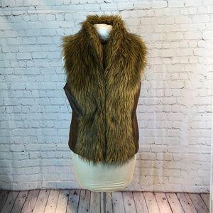 "I.N.C. vegan suede vest w ""fur"" trim"